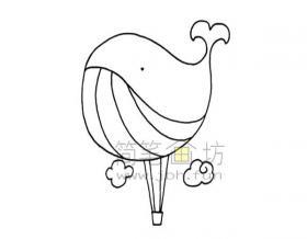 鲸鱼热气球简笔画画法