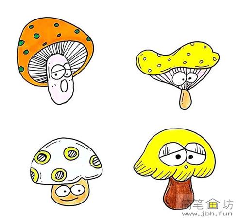 8种彩色小蘑菇简笔画(2)
