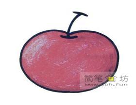 儿童画教程_4个步骤学会画红苹果简笔画
