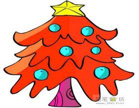 红色的圣诞树简笔画