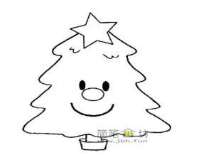 微笑的卡通圣诞树简笔画
