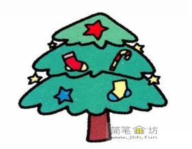 3幅圣诞树简笔画图片彩色素材