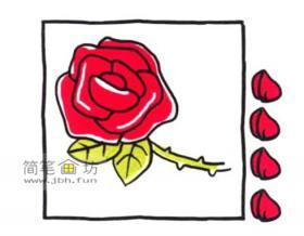 美丽的玫瑰花简笔画教程