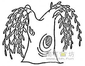 柳树简笔画1幅