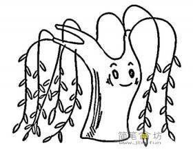可爱的卡通柳树简笔画图片