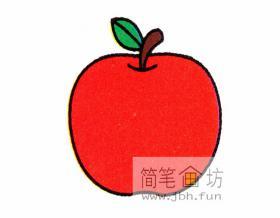 红彤彤的大苹果的简笔画步骤分解