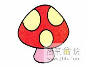 图解蘑菇彩色简笔画画法