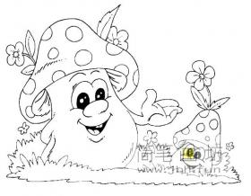 卡通蘑菇简笔画