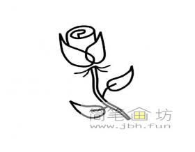 关于玫瑰花的简笔画图片3幅