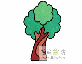 如何画榕树儿童简笔画分解步骤