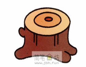 树桩的简笔画图解步骤【彩色】