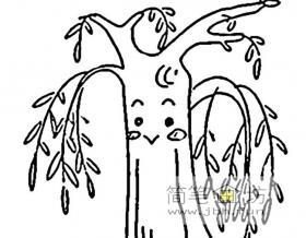 卡通柳树简笔画图片