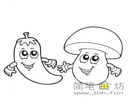 卡通辣椒和蘑菇简笔画图片