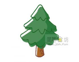 分解步骤教你画彩色简笔画松树