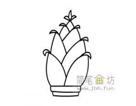 竹笋的简笔画画法步骤教程