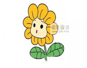 卡通向日葵的简笔画画法