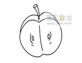 半个苹果的简笔画教程