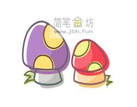 如何画彩色蘑菇的简笔画