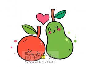梨子和橘子的卡通图片【彩色】