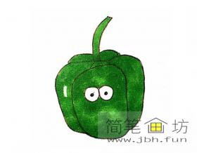 卡通青椒的简笔画图片【彩色】