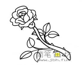 一朵玫瑰花简笔画图片