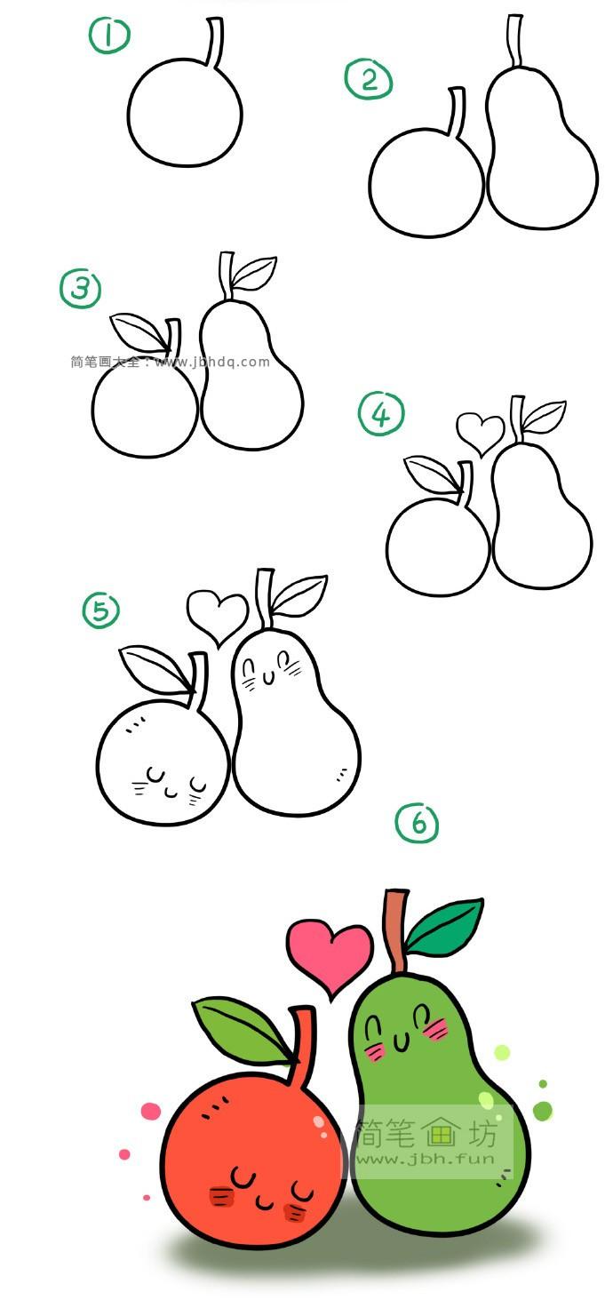 卡通橘子和梨子简笔画图片【图片】(1)
