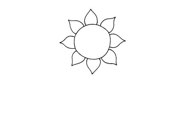 简单好看的儿童简笔画太阳花的画法步骤教程(2)