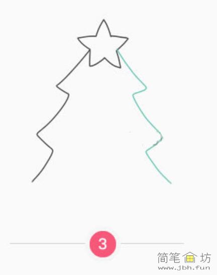漂亮的圣诞树彩色简笔画教程(4)