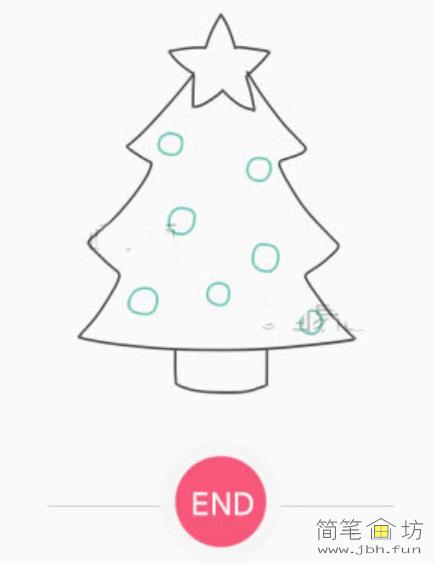 漂亮的圣诞树彩色简笔画教程(6)