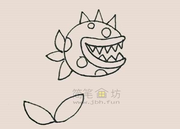 食人花简笔画绘画步骤【彩色】(6)