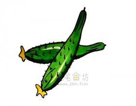 美味的黄瓜简笔画画法教程【彩色】