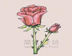幼儿简笔画:火红的玫瑰花简笔画怎么画【彩色】