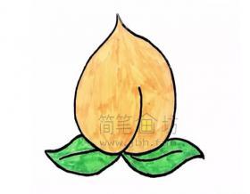 美味的桃子简笔画怎么画【彩色】