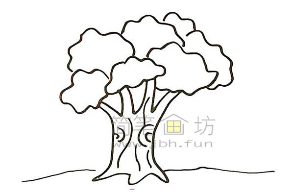 教你画大榕树简笔画简笔画【彩色】(6)