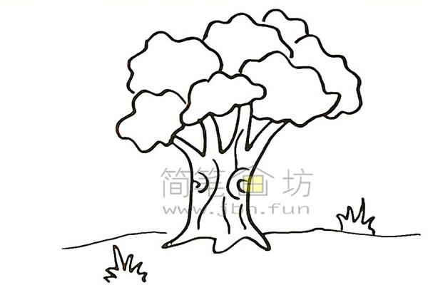 教你画大榕树简笔画简笔画【彩色】(7)