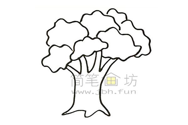 教你画大榕树简笔画简笔画【彩色】(4)