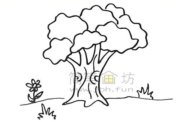 教你画大榕树简笔画简笔画【彩色】(8)