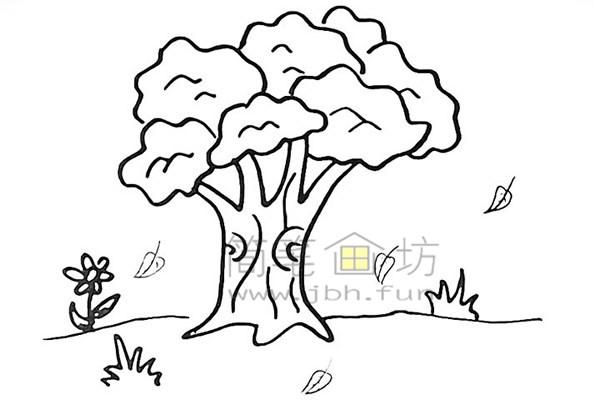 教你画大榕树简笔画简笔画【彩色】(10)