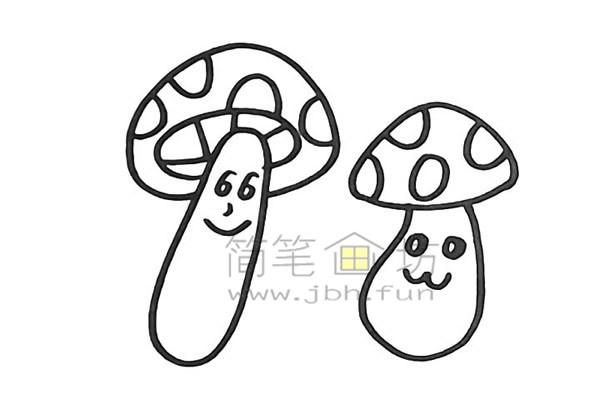 美丽的蘑菇简笔画怎么画【彩色】(10)
