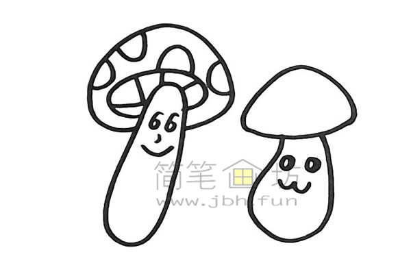 美丽的蘑菇简笔画怎么画【彩色】(9)