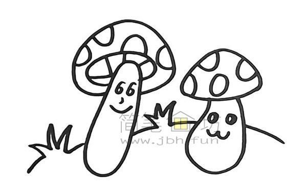 美丽的蘑菇简笔画怎么画【彩色】(11)