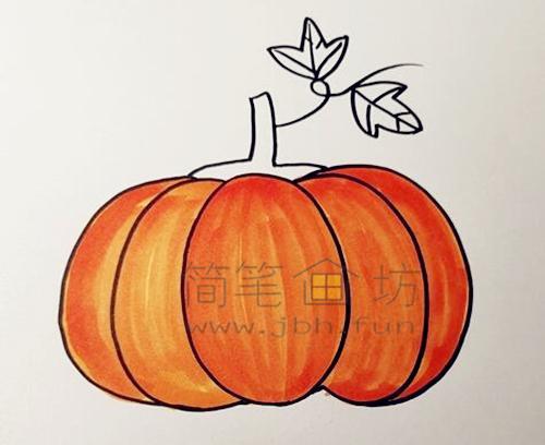教你画一个又大又圆的南瓜【彩色】(4)