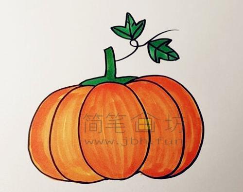 教你画一个又大又圆的南瓜【彩色】(5)