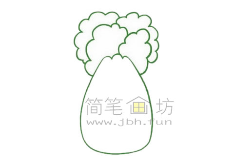 白菜简笔画绘画步骤【彩色】(2)