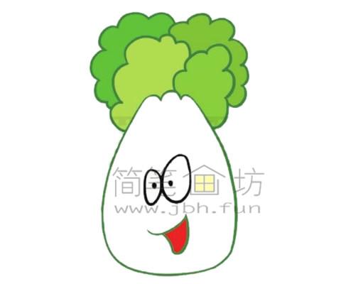白菜简笔画绘画步骤【彩色】(5)