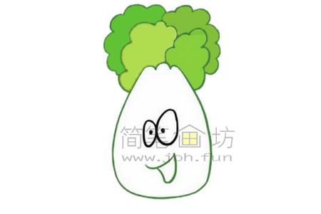 白菜简笔画绘画步骤【彩色】(4)