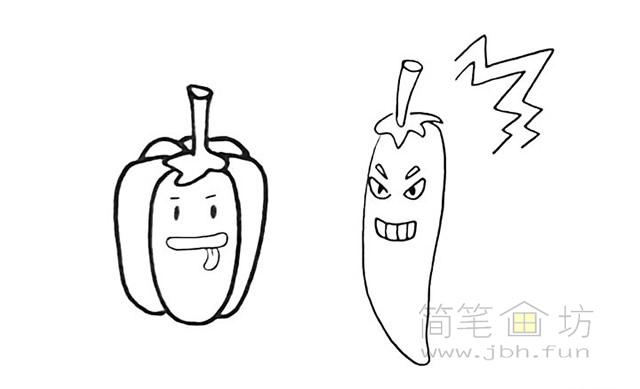 卡通辣椒简笔画步骤图解教程【彩色】(8)