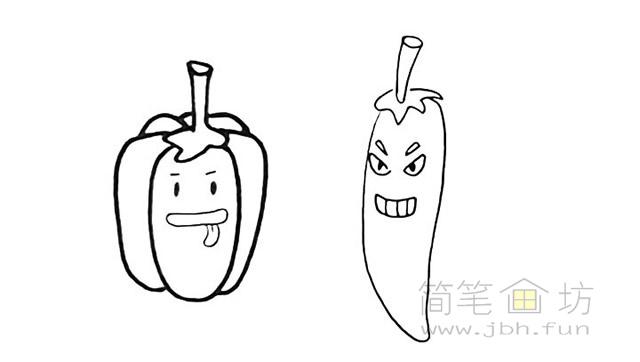 卡通辣椒简笔画步骤图解教程【彩色】(7)