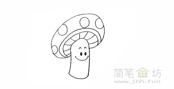 卡通蘑菇简笔画步骤图解教程【彩色】(8)