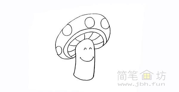 卡通蘑菇简笔画步骤图解教程【彩色】(7)